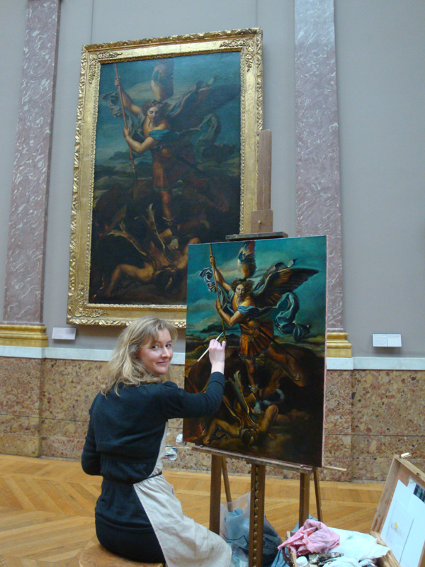 Anne-Sophie copying Saint Michael Archangel from Raphael at the Louvres museum