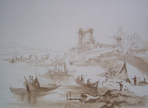 Francesco Guardi - Imaginary landscape with ruined towers and fishermen tent