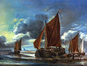 Reiner Nooms, dit Zeeman - Marine, Bark docking a large sailboat, 16th