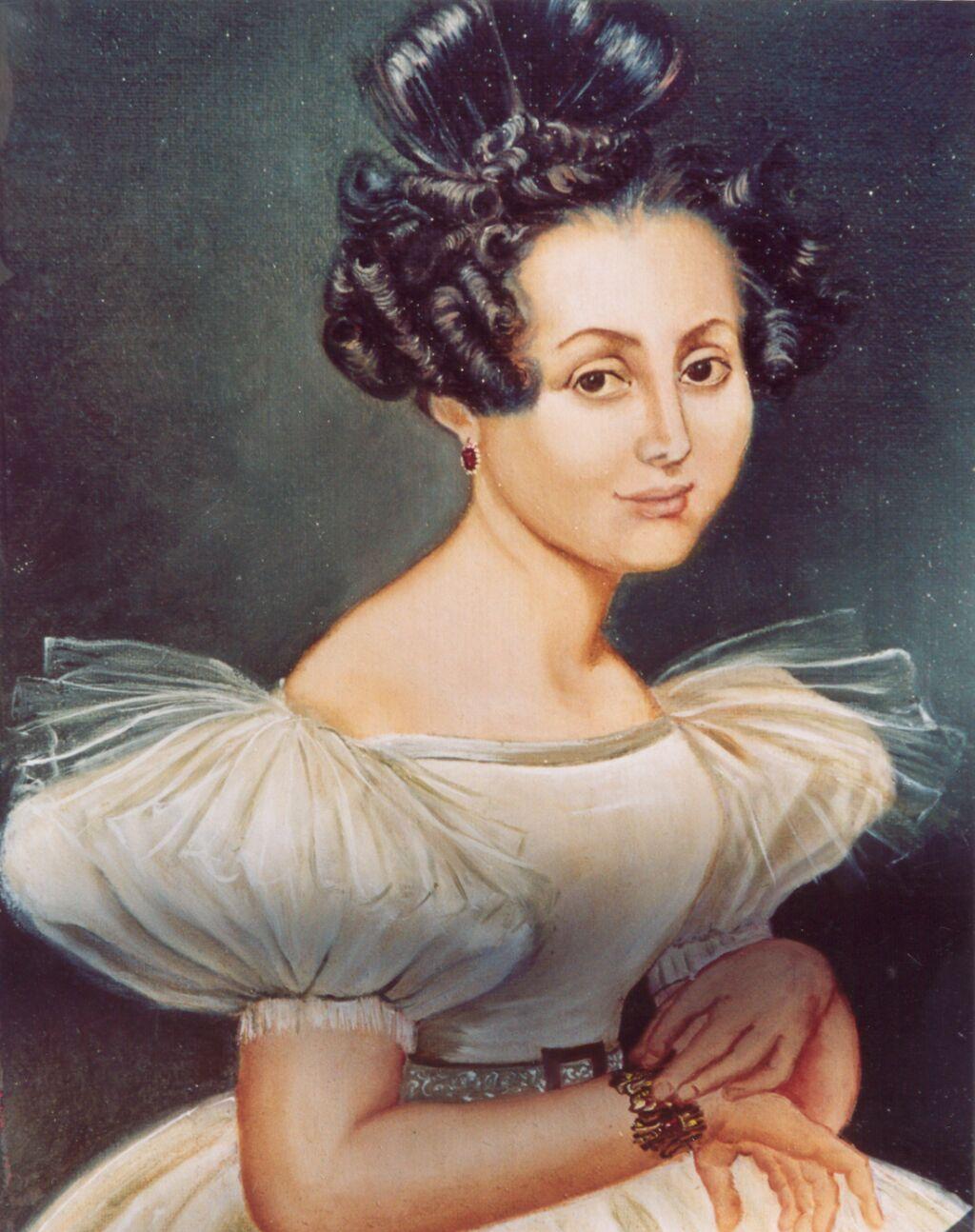 Portrait d une jeune femme vers 1830 copie d un portrait de famille